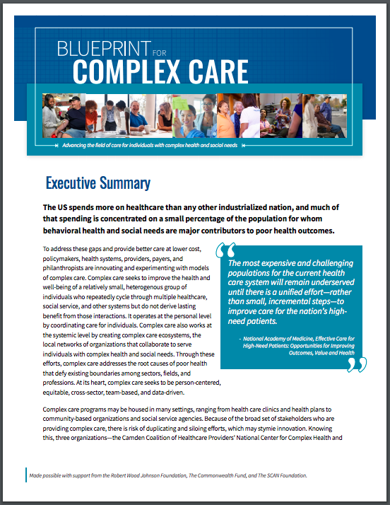 Download the Blueprint for Complex Care Executive Summary